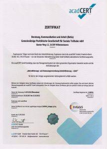 acadCERT - Zulassung als Trägereinrichtung nach dem Recht derArbeitsförderung - AZAV